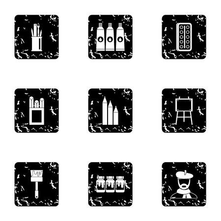 Creativity art icons set, grunge style