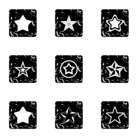 Star icons set, grunge style Stok Fotoğraf