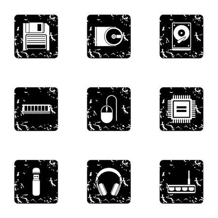 Computer data icons set, grunge style