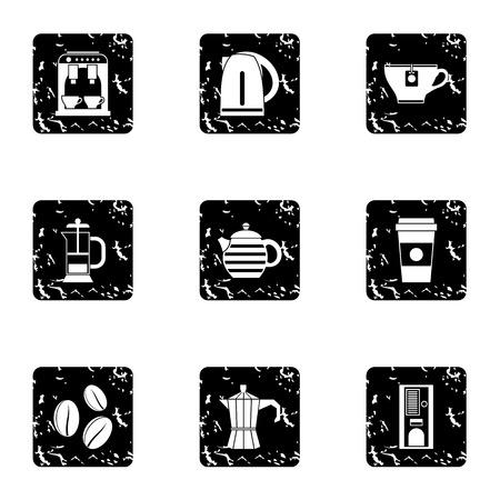 Types of drinks icons set, grunge style Stock Photo