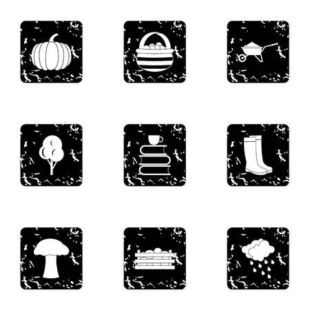 Season of year autumn icons set, grunge style