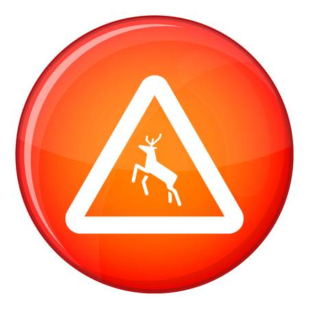 Deer traffic warning sign icon, flat style