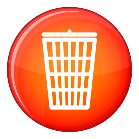 Trash can icon, flat style Imagens
