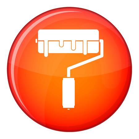 Paint roller with paint icon, flat style