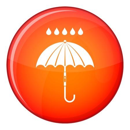 Umbrella and rain drops icon, flat style