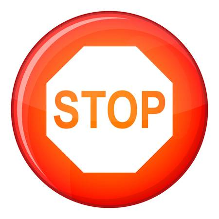Stop sign icon, flat style