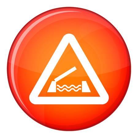 Lifting bridge warning sign icon, flat style