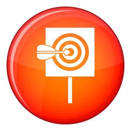 Pfeil in der Mitte des Zielsymbols, flacher Stil Standard-Bild