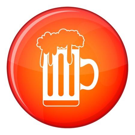 Mug with beer icon, flat style