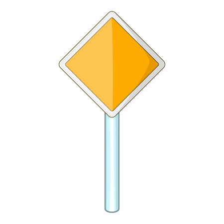 Priority road sign icon, cartoon style
