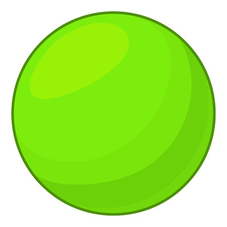 Green ball icon, cartoon style