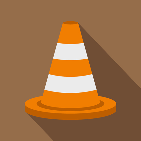 Traffic cone icon, flat style Stockfoto