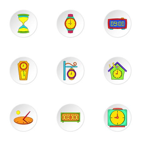 Clock icons set. Cartoon illustration of 9 clock icons for web