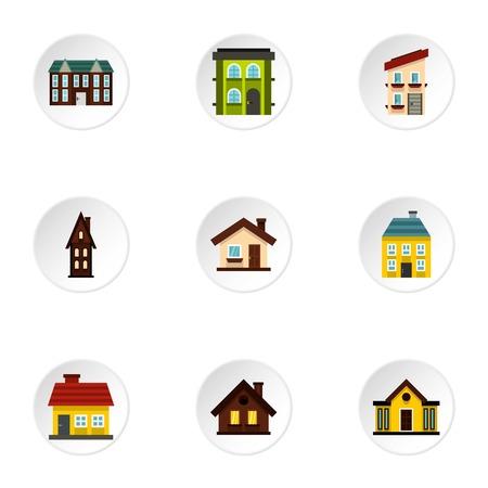 Building icons set, flat style