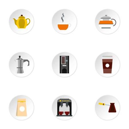 Coffee icons set, flat style