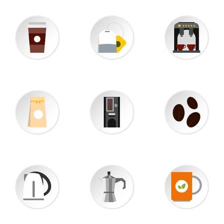 Beverage icons set, flat style Stock Photo