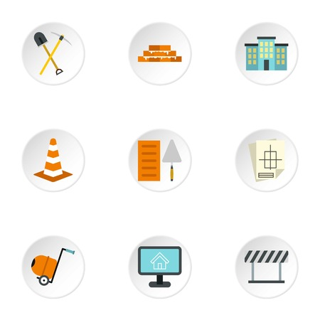 Construction tools icons set, flat style