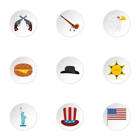 Holiday in USA icons set, flat style