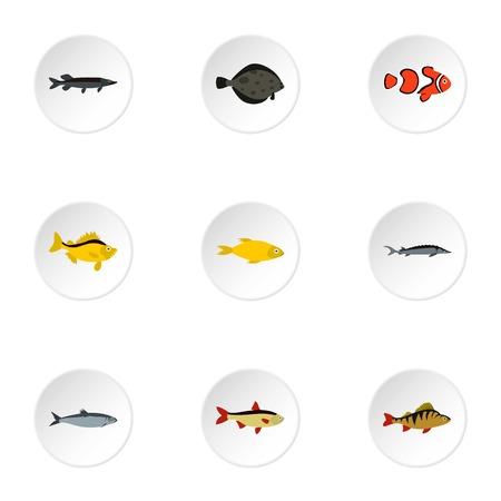 Fish icons set, flat style