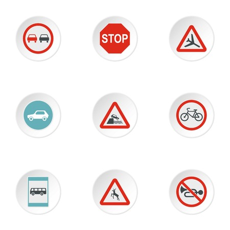 Sign warning icons set, flat style 写真素材 - 107391161