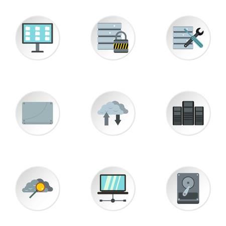 Computer setup icons set, flat style 版權商用圖片