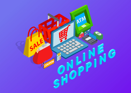 Online shopping clip art. Isometric clip art of Online shopping concept vector icons for web isolated on purple background