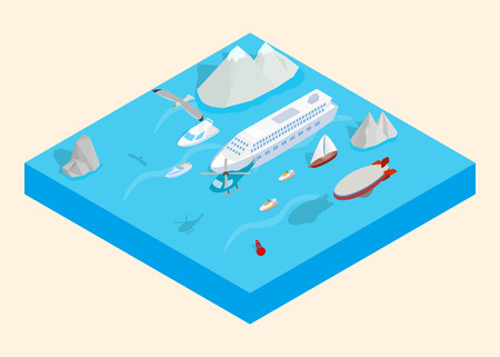 Sea cruise clip art. Isometric clip art of sea cruise concept vector icons for web isolated on white background Illustration