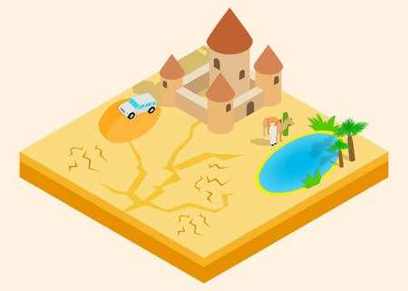 Desert oasis clip art. Isometric clip art of desert oasis concept vector icons for web isolated on white background
