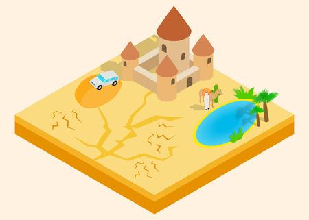 Desert oasis clip art. Isometric clip art of desert oasis concept vector icons for web isolated on white background 免版税图像 - 110492196