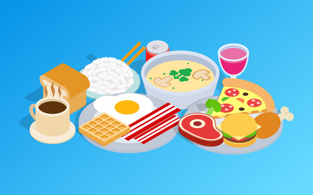 Breakfast clip art. Isometric clip art of breakfast concept vector icons for web isolated on white background