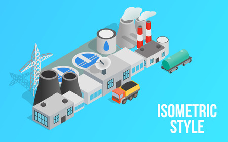 Energy factory clip art. Isometric clip art of energy factory concept vector icons for web isolated on blue background Illustration
