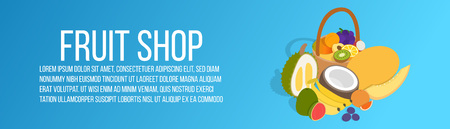 Fruit shop concept banner. Isometric banner of fruit shop vector concept for web, giftcard and postcard Stock Illustratie