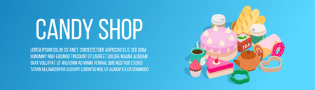Candy shop concept banner. Isometric banner of candy shop vector concept for web, giftcard and postcard Illustration
