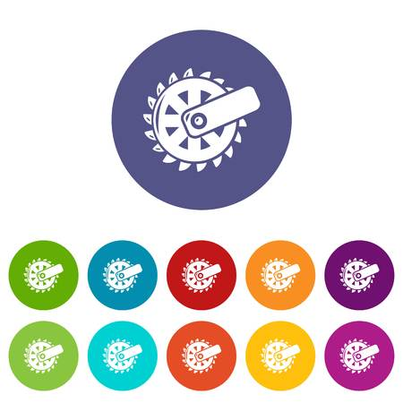 Mining cutting wheel icons color set vector for any web design on white background Vettoriali