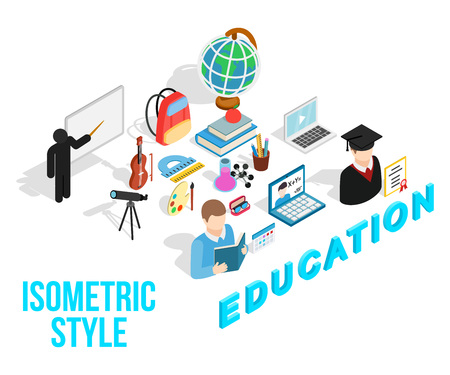 Education concept icons set. Isometric set of education concept vector icons for web isolated on white background