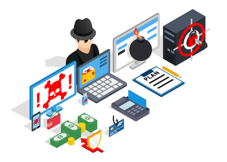 Hacking clip art. Isometric clip art of hacking concept vector icons for web isolated on white background Illustration