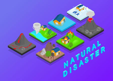 Natural disaster clip art. Isometric clip art of natural disaster concept vector icons for web isolated on white background Ilustração