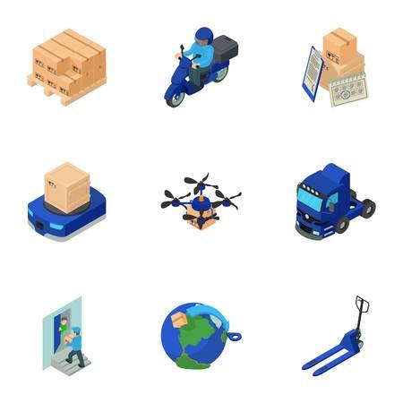Livraison du futur jeu d'icônes. Ensemble isométrique de 9 livraison des futures icônes vectorielles pour le web isolé sur fond blanc