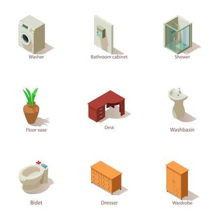 Premise icons set. Isometric set of 9 premise vector icons for web isolated on white background