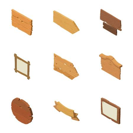 Wooden plaque icons set. Isometric set of 9 wooden plaque vector icons for web isolated on white background