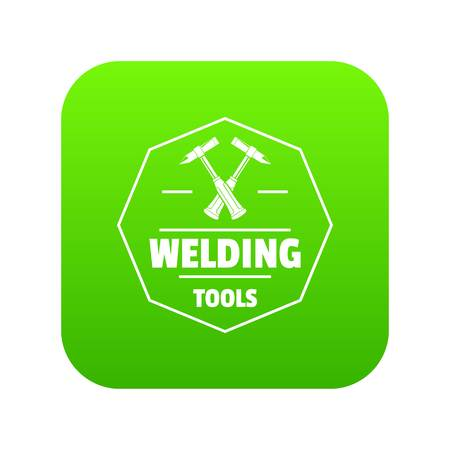 Welding work icon green vector isolated on white background