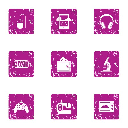 Play mechanics icons set. Grunge set of 9 play mechanics vector icons for web isolated on white background