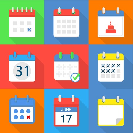 Paper calendar icons set. Flat set of 9 paper calendar vector icons for web isolated on white background Stock Illustratie
