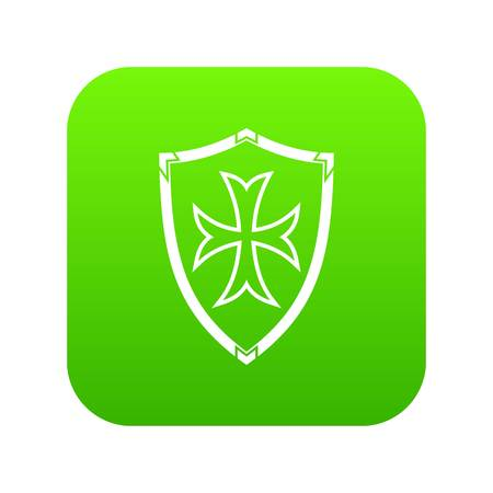Protective shield icon digital green for any design isolated on white vector illustration
