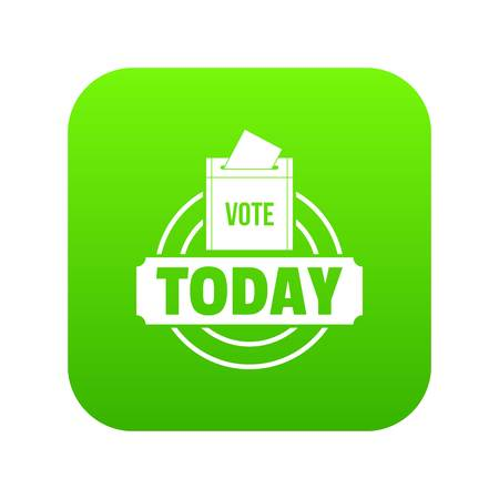Vote today icon green vector isolated on white background