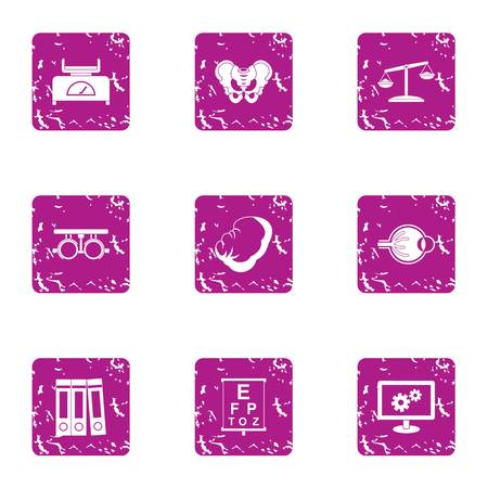 Ponder icons set. Grunge set of 9 ponder vector icons for web isolated on white background