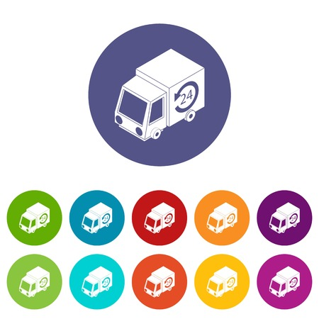 24 hour delivery icons color set vector for any web design on white background