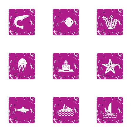 Jellyfish icons set. Grunge set of 9 jellyfish vector icons for web isolated on white background