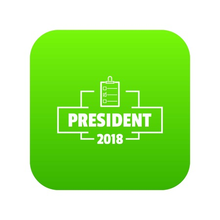 Vote president icon green vector isolated on white background