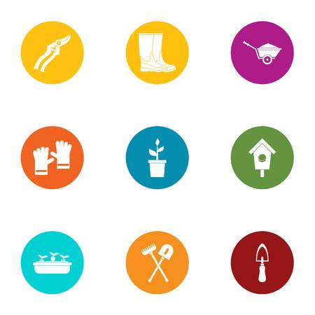 Work hand icons set. Flat set of 9 work hand vector icons for web isolated on white background